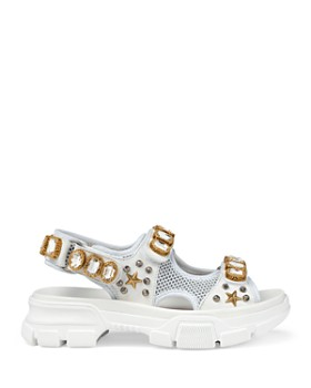 Gucci - Women's Leather & Mesh Sandals with Crystals