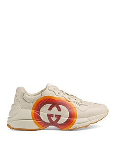 Gucci - Women's Rhyton Round Toe Leather Lace-Up Sneakers