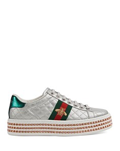 Gucci - Women's New Ace Round Toe Metallic Leather Lace-Up Sneakers