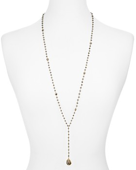 Ela Rae - Yaeli Lariat Necklace in 14K Gold-Plated Sterling Silver or Rhodium-Plated Sterling Silver, 30""