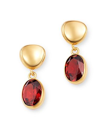 Bloomingdale's - Garnet Oval Drop Earrings in 14K Yellow Gold - 100% Exclusive