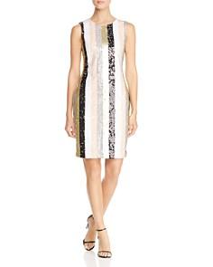 Calvin Klein - Striped Sequin Shift Dress