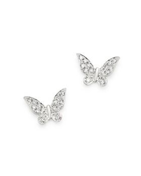 Meira T - 14K White Gold Diamond Butterfly Stud Earrings