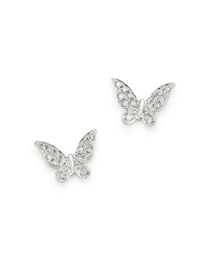 4cddd6cae096f 14K White Gold Diamond Butterfly Stud Earrings