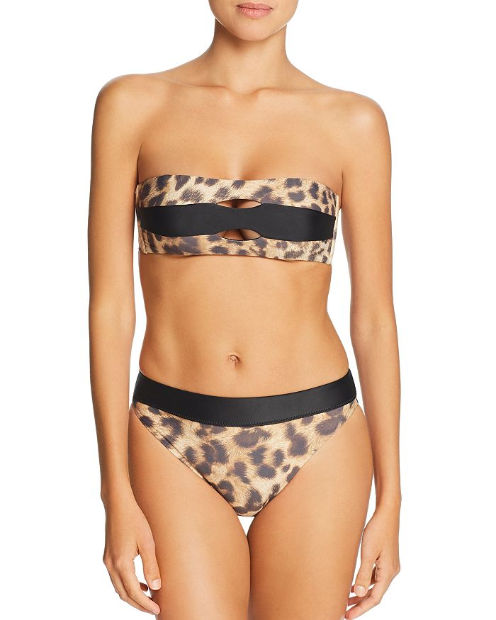 PilyQ - Jungle Color-Block Bandeau Bikini Top & High-Waist Bikini Bottom