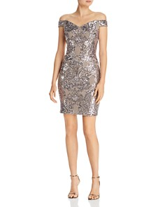 AQUA - Embellished Off-the-Shoulder Dress - 100% Exclusive