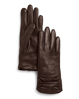 Vintage Style Gloves- Long, Wrist, Evening, Day, Leather, Lace Fownes Metisse Ruched Leather Tech Gloves AUD 105.35 AT vintagedancer.com