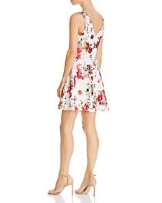 AQUA - Metallic Floral Fit-and-Flare Dress - 100% Exclusive
