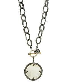 Freida Rothman - Imperial Mother-of-Pearl Pendant Necklace in Black Rhodium-Plated Sterling Silver & 14K Gold-Plated Sterling Silver, 18""