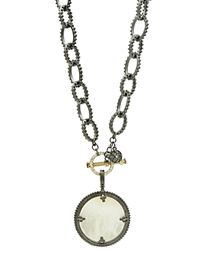 Freida Rothman Imperial Mother-of-Pearl Pendant Necklace in Black Rhodium-Plated Sterling Silver & 14K Gold-Plated Sterling Silver, 18