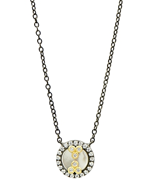 Freida Rothman Color Mother of Pearl Pendant Necklace in Black Rhodium-Plated Sterling Silver & 14K Gold-Plated Sterling Silver, 16