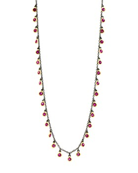 """Freida Rothman - Color Dangle Necklace in Black Rhodium-Plated Sterling Silver & 14K Gold-Plated Sterling Silver, 15"""""""