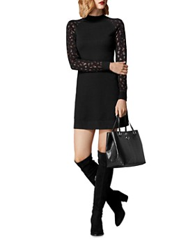 KAREN MILLEN - Embellished Leopard Sweater Dress