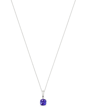 Bloomingdale's Tanzanite & Diamond-Accent Pendant Necklace in 14K White Gold, 18 - 100% Exclusive