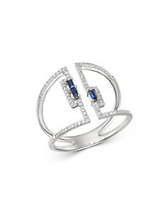 KC Designs - 14K White Gold Diamond & Blue Sapphire Open Ring