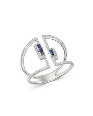 KC DESIGNS 14K White Gold Diamond & Blue Sapphire Open Ring in Blue/White