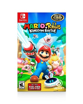 Nintendo - Switch with Neon Blue & Neon Red Joy-Con™ Controllers - Mario Rabbids Kingdom Battle Game & Hybrid Cover Bundle