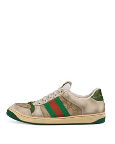 Gucci - Men's Distressed GG Supreme Canvas & Leather Lace-Up Sneakers