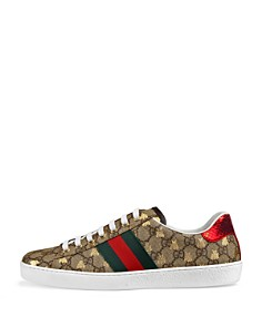 Gucci - Men's Ace GG Supreme Bees Leather Lace-Up Sneakers