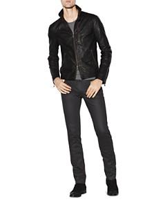 John Varvatos Collection - Garment-Wash Slim Fit Leather Jacket