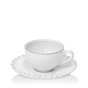 Costa Nova White Pearl Coffee Cup & Saucer
