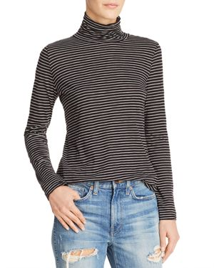 MICHELLE BY COMUNE Michelle By Comune Roscoe Striped Turtleneck Tee in Black/White