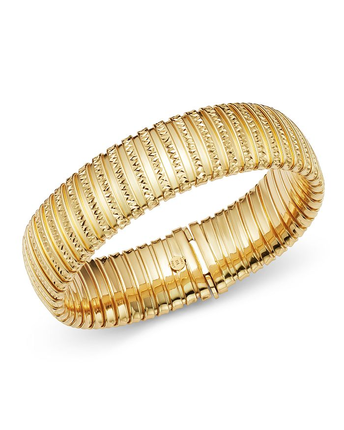 Bloomingdale's 14k Yellow Gold Wide Band Tubogas Diamond Cut Bracelet - 100% Exclusive