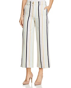 Tory Burch - Striped Crop Wide-Leg Pants