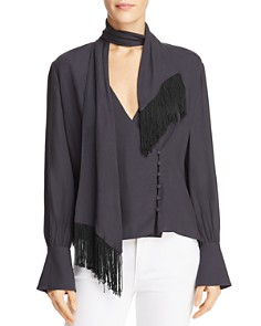 Joie - Jayla Fringed Tie-Neck Top
