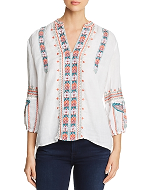 Johnny Was Claudine Embroidered Peasant Top