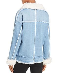 525 America - Real Lamb Shearling Trimmed Denim Jacket