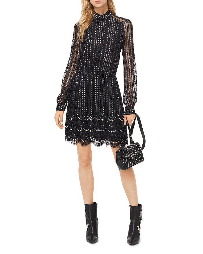 345704ba6224 MICHAEL Michael Kors MICHAEL Embellished Embroidered Lace Dress ...