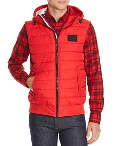 Tommy Hilfiger - Stripe-Trimmed Mixed-Media Puffer Vest