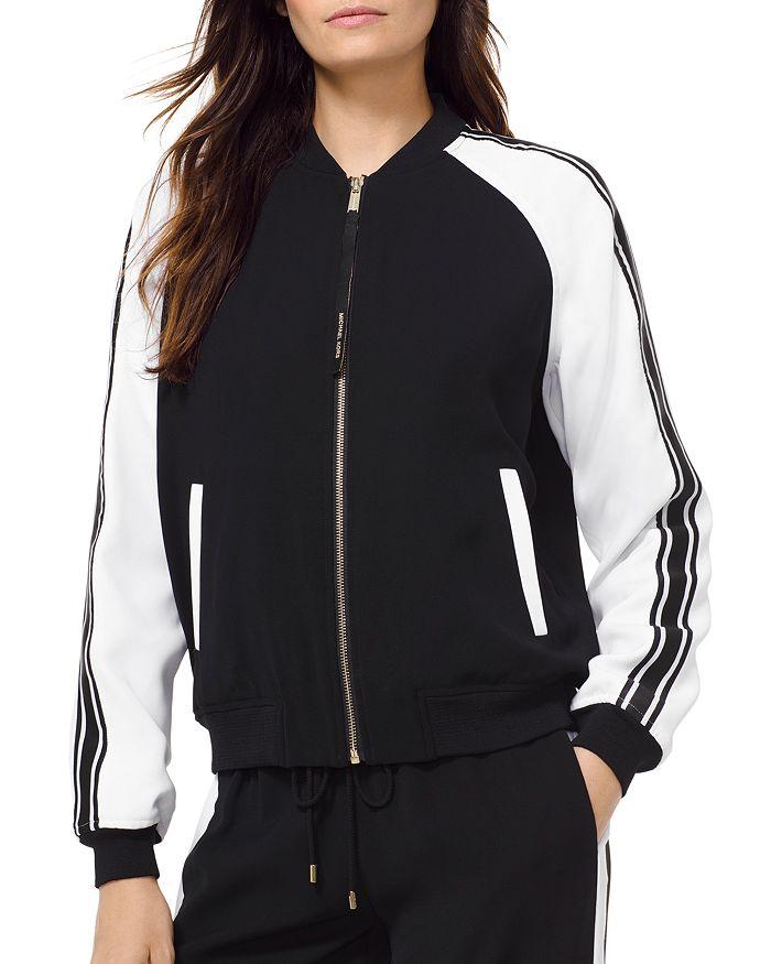 MICHAEL Michael Kors - Striped Sleeve Bomber Jacket