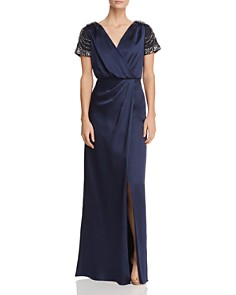 Aidan Mattox - Embellished Faux-Wrap Gown - 100% Exclusive