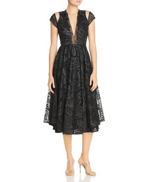 SAU LEE Alyssa Embroidered Mesh Fit-And-Flare Midi Dress in Black