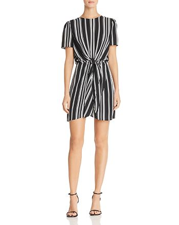 AQUA - Tie-Front Striped Dress - 100% Exclusive