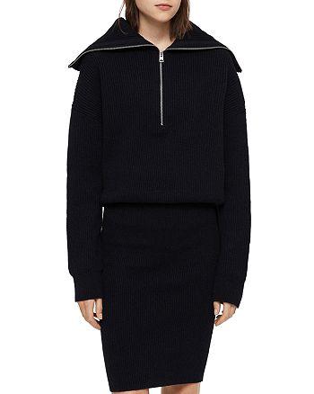 ALLSAINTS - Ami Rib-Knit Blouson Sweater Dress