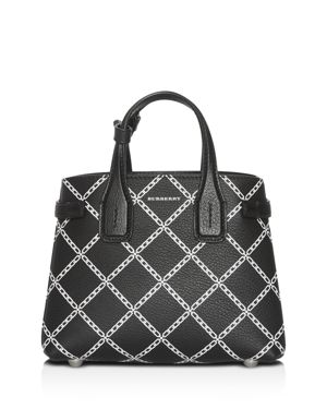 Link Print Leather Tote in Black/Silver
