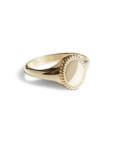 Shinola - 14K Yellow Gold Coin Edge Petite Signet Ring