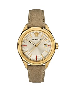 Versace - Glaze Beige Leather Watch, 43mm