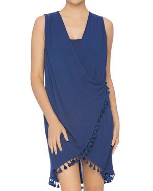 ATHENA Bazaar Beauty Wrap Swim Cover-Up in Navy