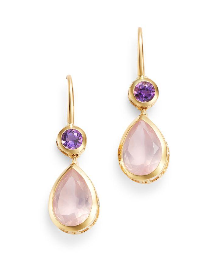 Bloomingdale's Amethyst & Rose Quartz Drop Earrings in 14K Yellow Gold - 100% Exclusive  | Bloomingdale's