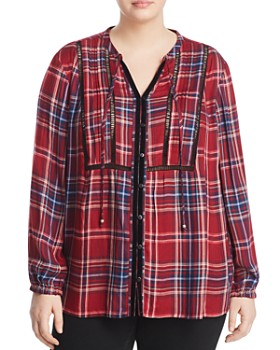 Seven7 Jeans Plus - Pintucked Plaid Peasant Top