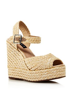 AQUA - Rose Rafia Wedge Espadrille Sandals