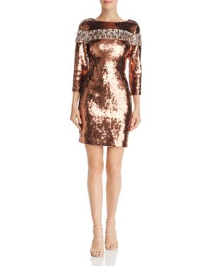 Aidan Mattox Embellished Sequined Sheath Dress