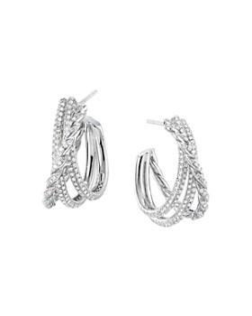 David Yurman - Paveflex Shrimp Earrings with Diamonds in 18K White Gold