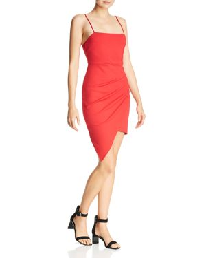 SUNSET & SPRING Asymmetric Pleated Dress in Deep Red