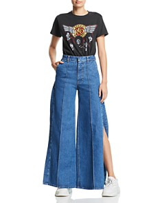 Ksenia Schnaider - Side-Slit Wide-Leg Jeans in Dark Blue