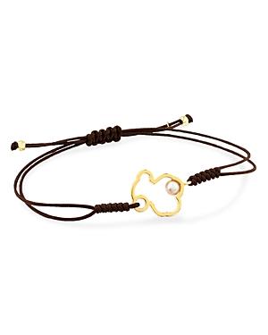 Tous 18K Yellow Gold Silueta Cultured Freshwater Pearl Bear Cord Bracelet